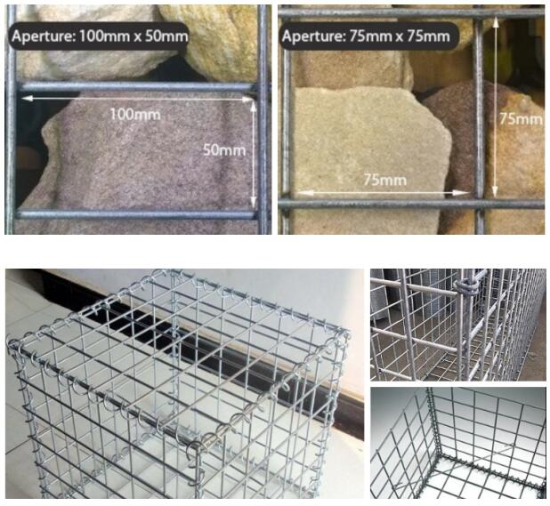 Welded mesh gabions for river control