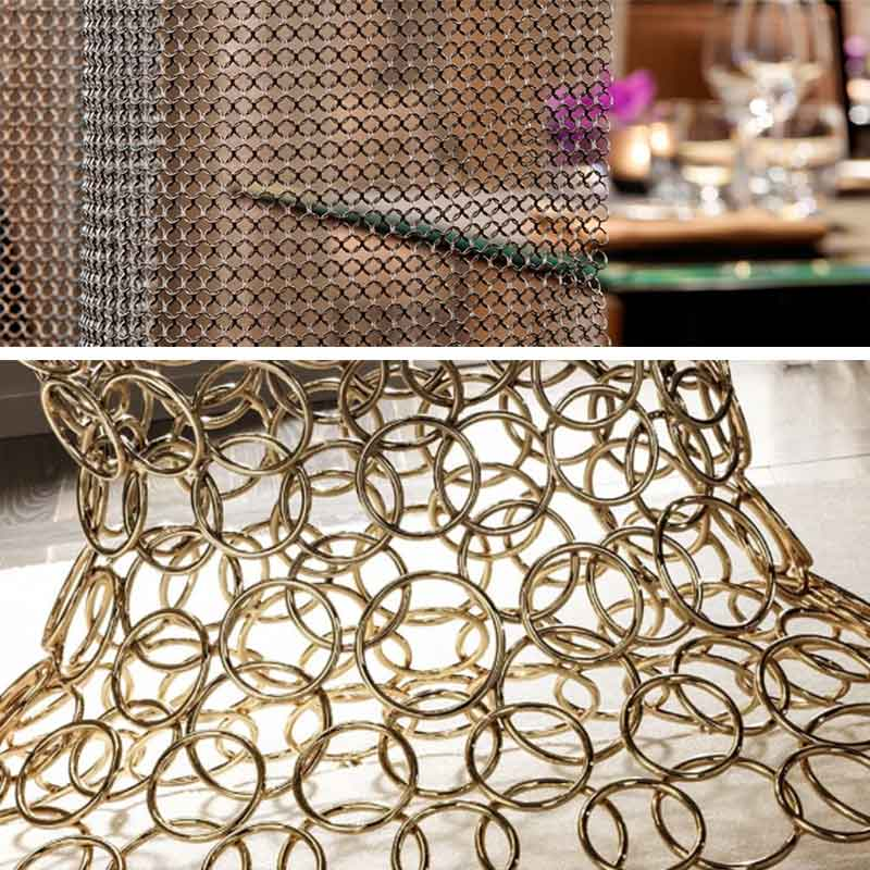 Metal ring meshes for decoration